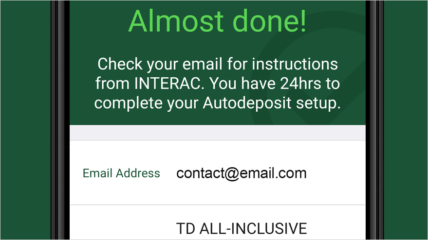 Check email from Interac