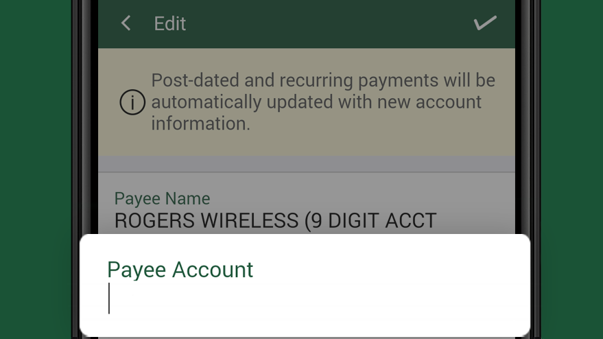 Edit payee account number