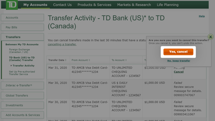 how to cancel your td bank account