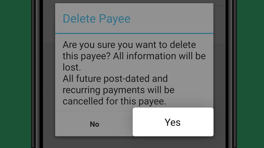Select yes button to delete