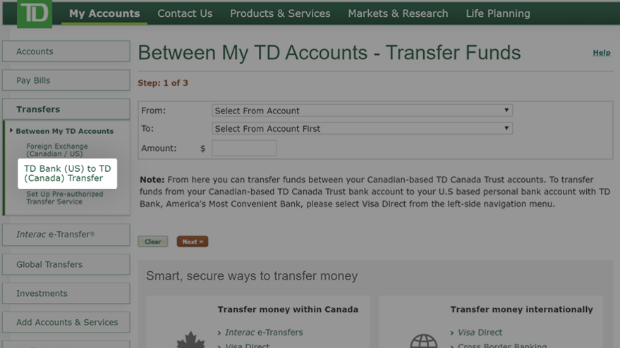 Select TD Bank (US) to TD (Canada) Transfer option