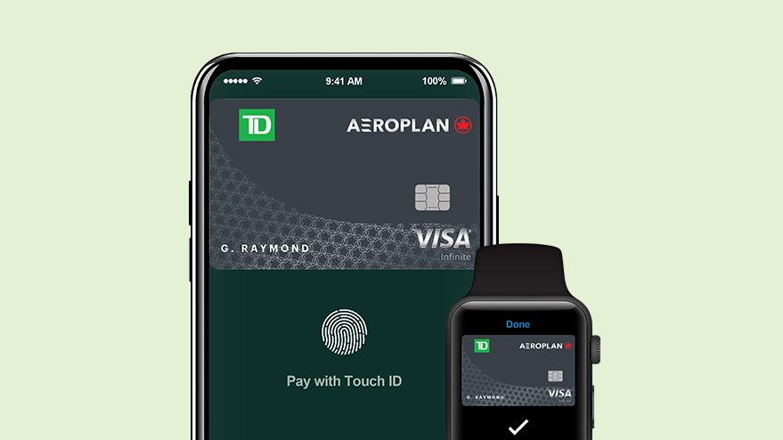 TD Aeroplan Visa无限卡显示在Apple Pay Wallet上。