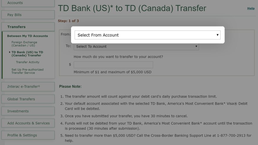 Select account to transfer funds from