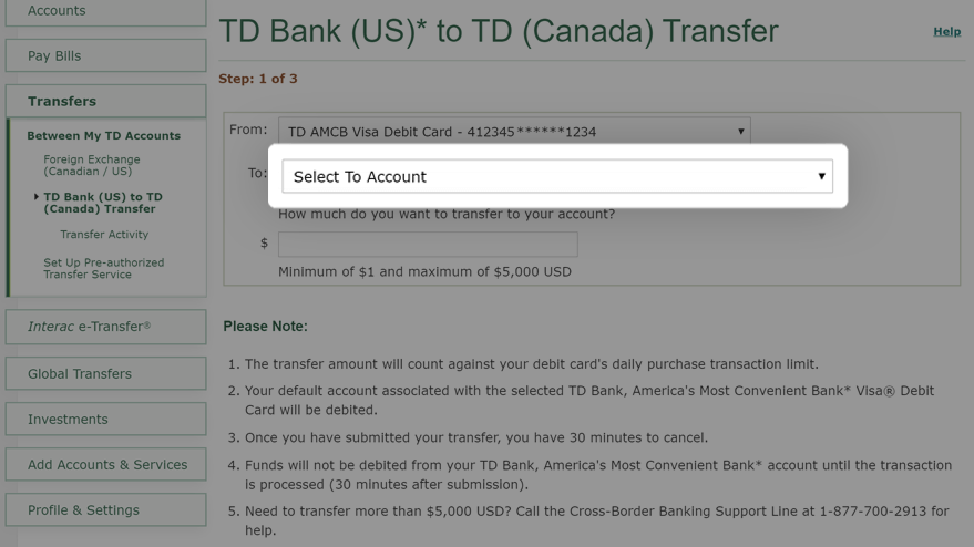 Select account to transfer funds to