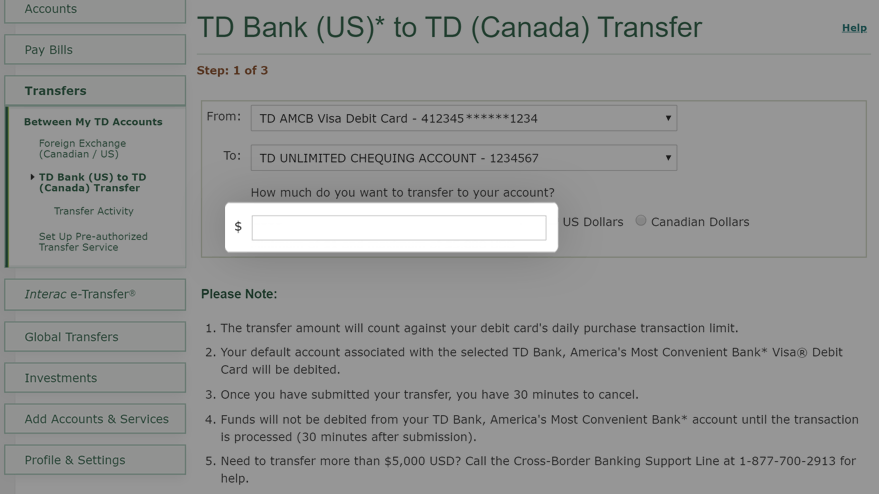 Enter the amount you want to transfer
