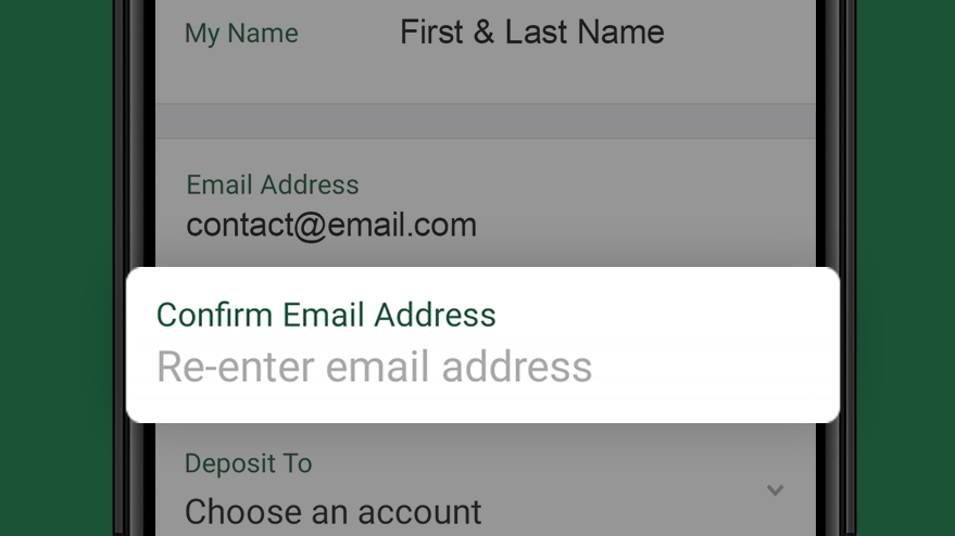 Fill in Confirm Email Address field