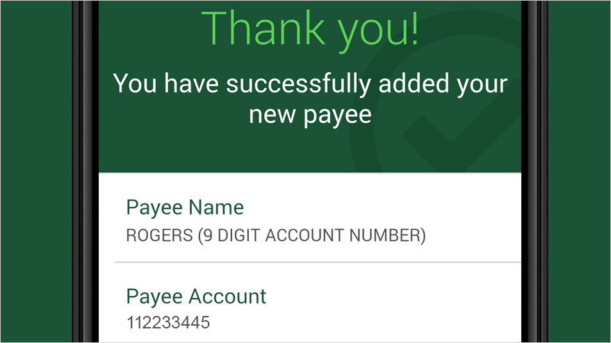 Confirmation of added payee