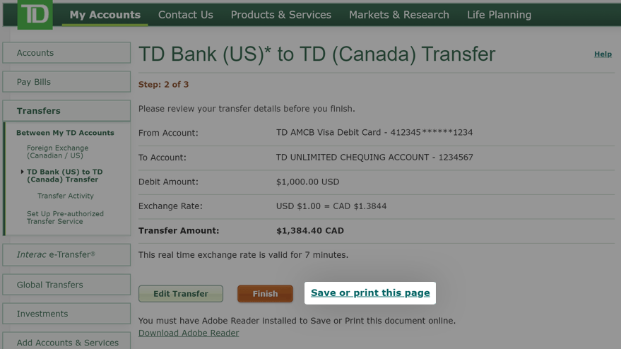 Review your transfer and select Save or print this page link