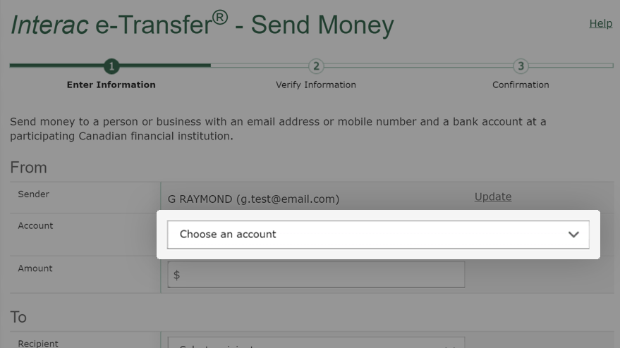 Within Canada With Interac E Transfer