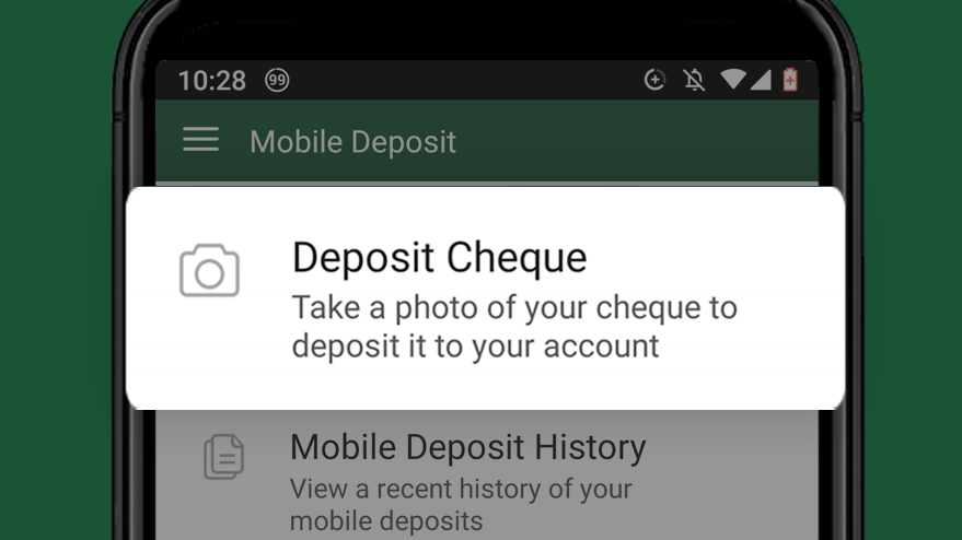 Select deposit cheque