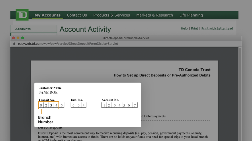 Access the direct deposit form