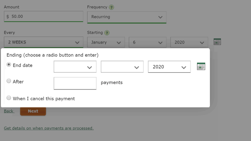 Choose a payment end option