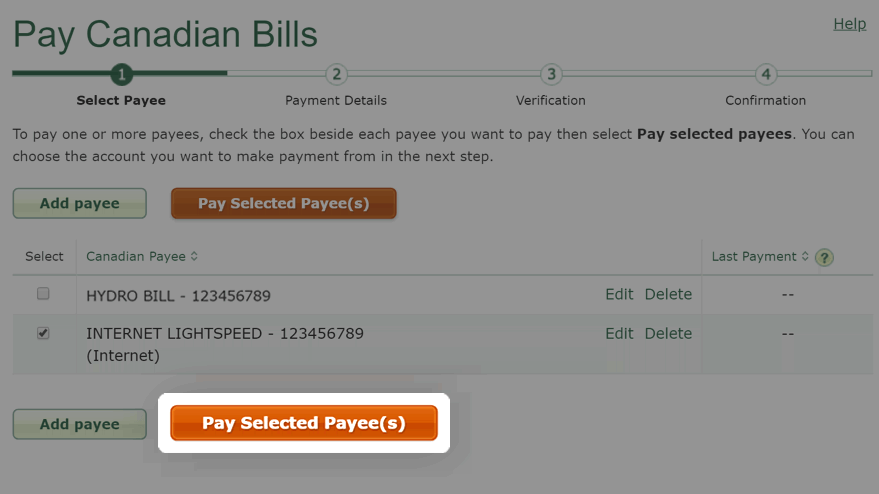 Select Pay selected payee button