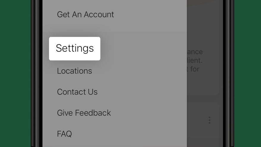 Select settings option