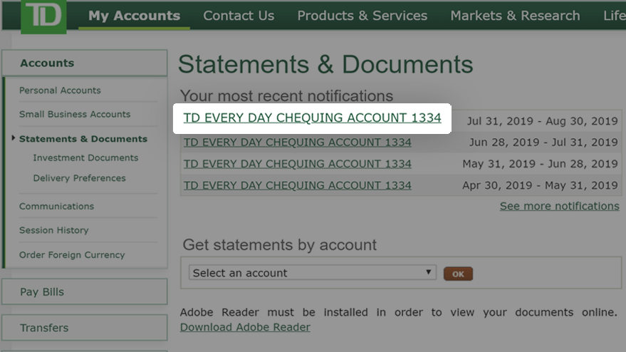 How to access online statements on EasyWeb