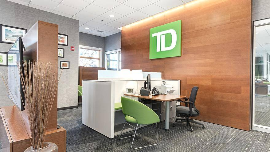 An interior view of a TD Help and Advice Centre.