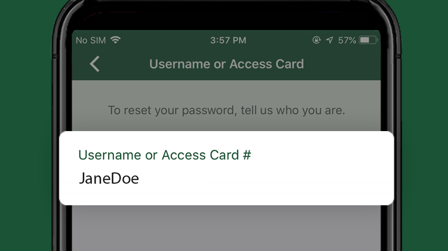 Username or Access Card