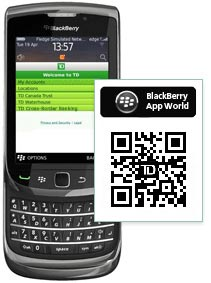 Download the TD Mobile App on Blackberry App Word.