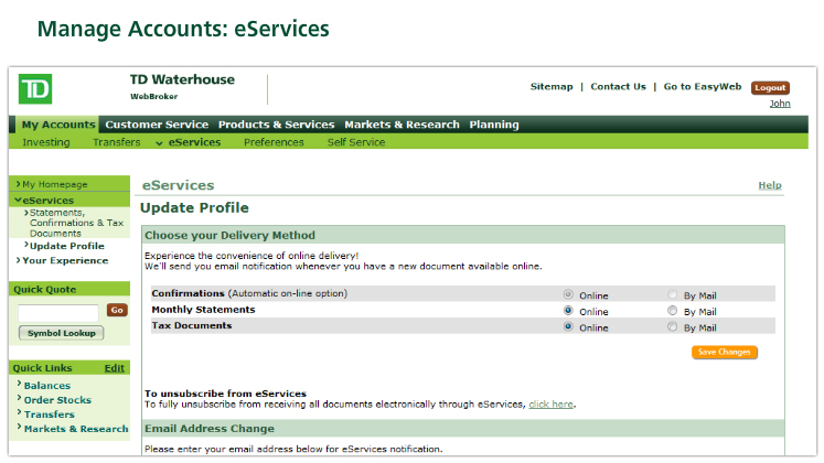 Manage Accounts: eServices