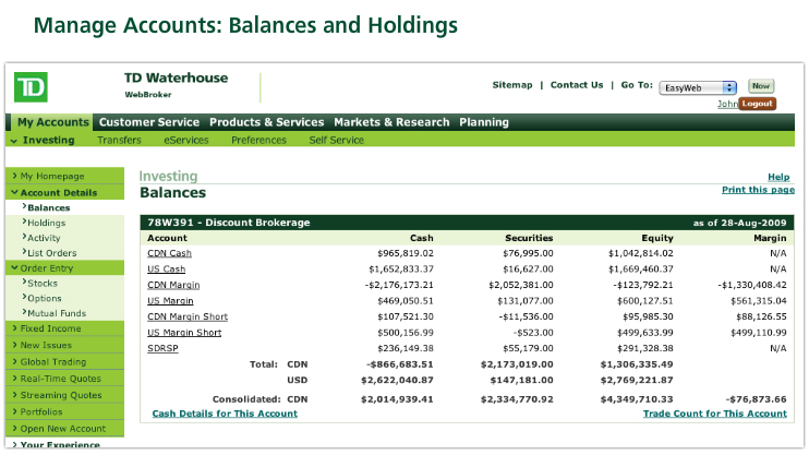 Manage Accounts: Balances and Holdings