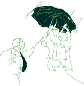 Person holding umbbrella over two people