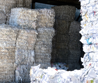 photo of stacks of paper to be recycled