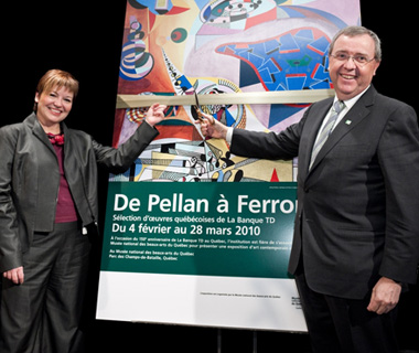 photo of TD employees at a special art exhibit called From Pellan to Ferron