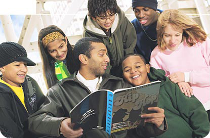 [Image] - Kids Looking at Hip Hop Book