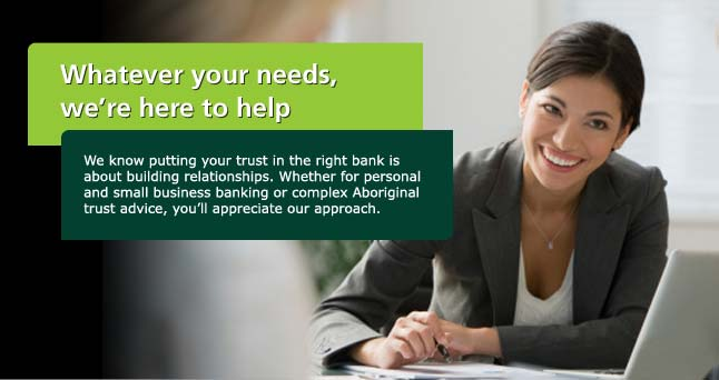 TD employee helping Aboriginal client with banking and Aboriginal Trust needs.