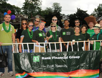 TD employees holding banner