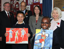 Photo of TD employees with students at Falconbrook School in London