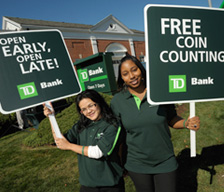 TD employees holding signs