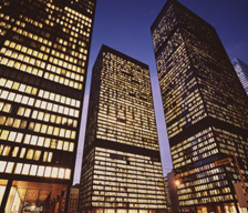 TD Towers at night