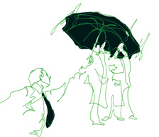 Illustration of people with an umbrella