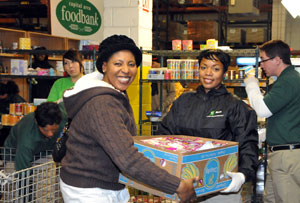 TD Bank employees at food bank
