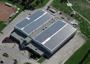Photo of solar panels on a commercial building